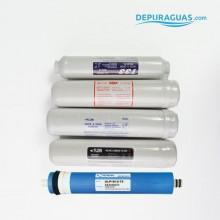 """Pack de filtros RO 2""""1/2x12 + MEMBRANA 75 GPD"""
