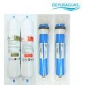 Pack de filtros + membranas 200 gpd DEPURSLIM 20 RO PAD